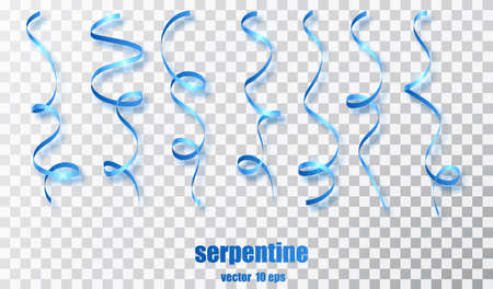 Blue curly ribbon serpentine confetti. Blue streamers set on transparent background. Colorful design decoration party, holiday event, carnival, Christmas, New Year greeting. Vector illustration