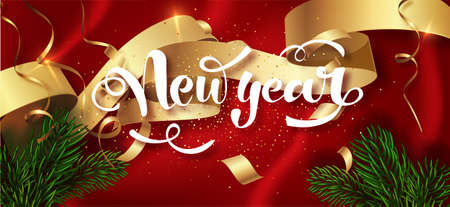 Happy New Year winter holiday greeting card design template. Calligraphic New year Lettering Decorated. Party poster, banner for invitation gold glitter stars confetti glitter decoration. Vector Stock Vector - 112559660