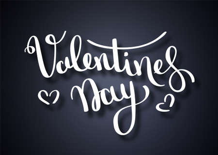 Vector illustration. Handwritten brush lettering of Happy Valentines Day with hearts on chalkboard background Illustration