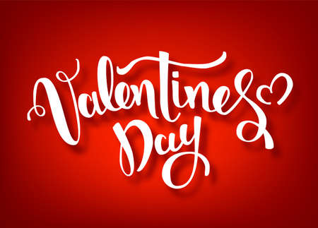 Happy Valentines Day Hand Drawing Vector Lettering design. Red Vector Valentine s Day Banner. Stok Fotoğraf - 127365023