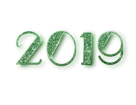 2019 glitter typography design. Green sparkling Numbers Design of greeting card of Happy new year design. Green Shining Pattern. Happy New Year Banner with 2019 Numbers. Vector illustration Stock Photo