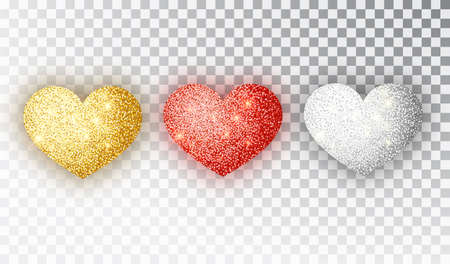 Hearts glitter texture set. Red, gold, silver Hearts Isolated. Symbol love heart shape isolated. Vector object for Valentine s Day design, mockup. Vector realistic object Illustration 10 EPS Ilustração