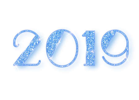 2019 glitter typography design. Blue sparkling Numbers Design of greeting card of Happy new year design. Blue Shining Pattern. Happy New Year Banner with 2019 Numbers. Vector illustration Stock Vector - 117796433