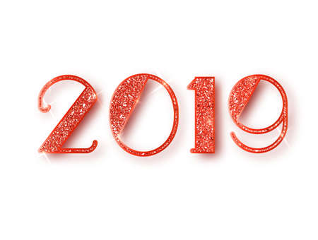 2019 glitter typography design. Red sparkling Numbers Design of greeting card of Happy new year design. Red Shining Pattern. Happy New Year Banner with 2019 Numbers. Vector illustration