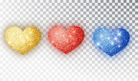 Hearts glitter texture set. Red, gold, blue Hearts Isolated. Symbol love heart shape isolated. Vector object for Valentine s Day design, mockup. Vector realistic object Illustration 10 EPS.