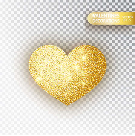 Heart golden glitter isoleted on transparent background. Gold sparkles heart. Valentine Day symbol. Love concept design. Vector illustration 10 eps.