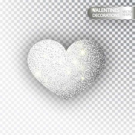 Heart silver glitter isoleted on transparent background. Silver sparkles heart. Valentine Day symbol. Love concept design. Vector illustration 10 eps. Ilustração