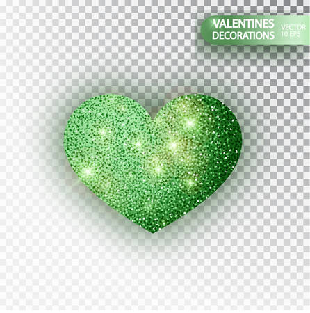 Heart green glitter isoleted on transparent background. Green sparkles heart. Valentine Day symbol. Love concept design. Vector illustration 10 eps.