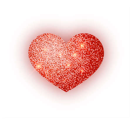 Heart red glitter isoleted on white background. Red sparkles heart. Valentine Day symbol. Love concept design. Vector illustration 10 eps. Stok Fotoğraf - 127261930