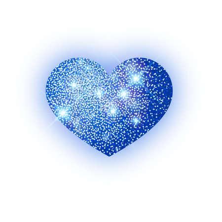 Heart blue glitter isoleted on white background. Blue sparkles heart. Valentine Day symbol. Love concept design. Vector illustration 10 eps.