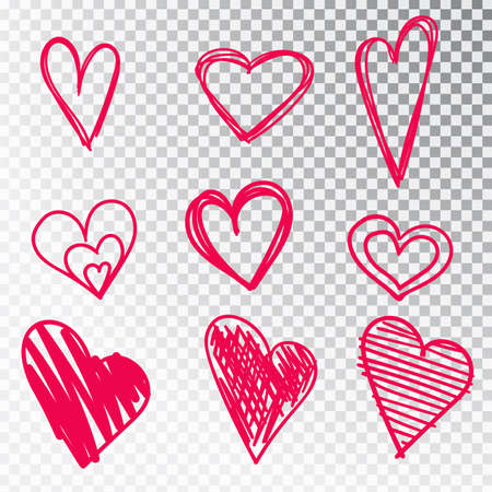 Hearts hand drawn set isolated. Design elements for Valentine s day. Collection of doodle sketch hearts hand drawn with ink. Vector illustration 10 EPS. Illusztráció