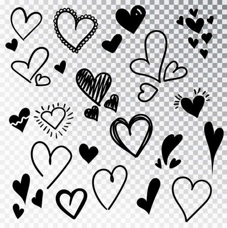 Hearts hand drawn set isolated. Design elements for Valentine s day. Collection of doodle sketch hearts hand drawn with ink. Vector illustration 10 EPS. Stok Fotoğraf - 127261934