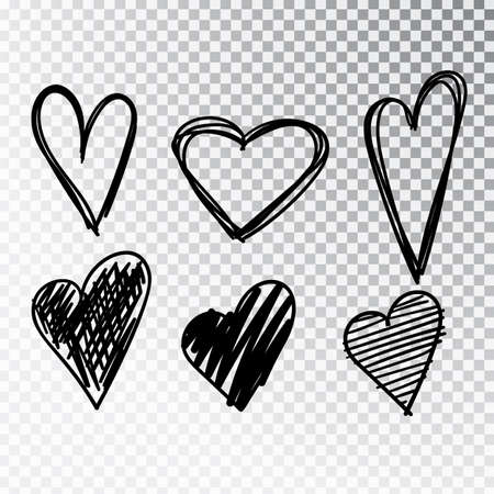 Hearts hand drawn set isolated. Design elements for Valentine s day. Collection of doodle sketch hearts hand drawn with ink. Vector illustration 10 EPS. Stok Fotoğraf - 127261935