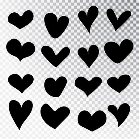 Hearts hand drawn set isolated. Design elements for Valentine s day. Collection of doodle sketch hearts hand drawn with ink. Vector illustration 10 EPS. Stok Fotoğraf - 127261936