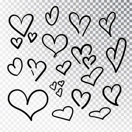 Ensemble de coeurs dessinés à la main isolé. Éléments de conception pour la Saint-Valentin. Collection de coeurs de croquis de doodle dessinés à la main avec de l'encre. Illustration vectorielle 10 EPS.