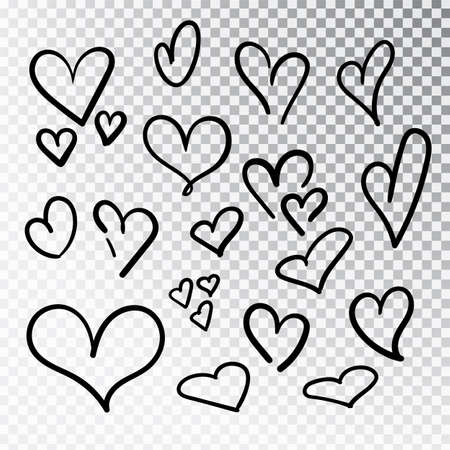 Hearts hand drawn set isolated. Design elements for Valentine s day. Collection of doodle sketch hearts hand drawn with ink. Vector illustration 10 EPS. 矢量图像