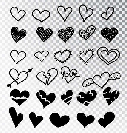Hearts hand drawn set isolated. Design elements for Valentine s day. Collection of doodle sketch hearts hand drawn with ink. Vector illustration 10 EPS. Stok Fotoğraf - 127225942