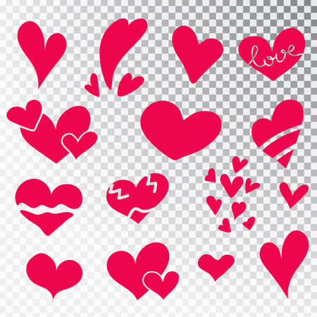 Hearts hand drawn set isolated. Design elements for Valentine s day. Collection of doodle sketch hearts hand drawn with ink. Vector illustration 10 EPS