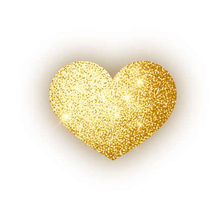 Heart golden glitter isoleted on white background. Gold sparkles heart. Valentine Day symbol. Love concept design. Vector illustration 10 eps.