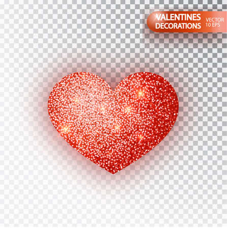 Heart red glitter isoleted on transparent background. Red sparkles heart. Valentine Day symbol. Love concept design. Vector illustration 10 eps.