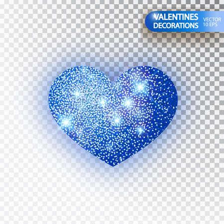 Heart blue glitter isoleted on transparent background. Blue sparkles heart. Valentine Day symbol. Love concept design. Vector illustration 10 eps