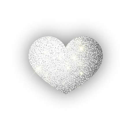 Heart silver glitter isoleted on white background. Silver sparkles heart. Valentine Day symbol. Love concept design. Vector illustration 10 eps. Stok Fotoğraf - 127225947