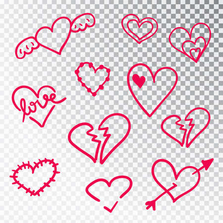 Hearts hand drawn set isolated. Design elements for Valentine s day. Collection of doodle sketch hearts hand drawn with ink. Vector illustration 10 EPS. Stock Illustratie