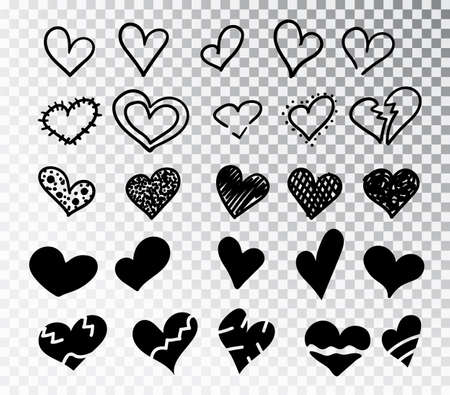 Hearts hand drawn set isolated. Design elements for Valentine s day. Collection of doodle sketch hearts hand drawn with ink. Vector illustration 10 EPS. Stok Fotoğraf - 127225949