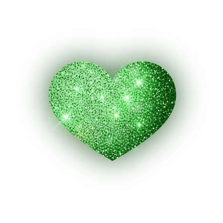 Heart green glitter isoleted on white background. Green sparkles heart. Valentine Day symbol. Love concept design. Vector illustration 10 eps.
