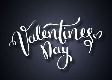 Valentines day vector card. Happy Valentines Day lettering on a white background. Vector Illustrations. Handwritten brush lettering of Happy Valentines Day with hearts on chalkboard background Stock Illustration - 117796443