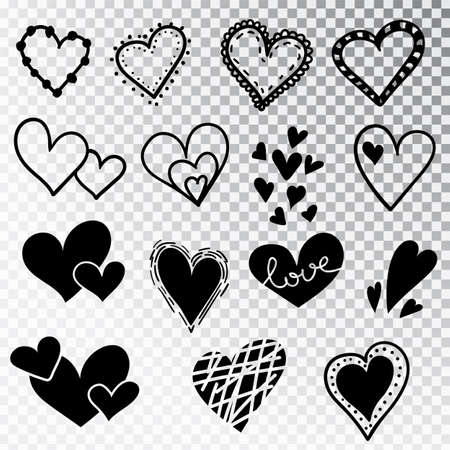 Hearts hand drawn set isolated. Design elements for Valentine s day. Collection of doodle sketch hearts hand drawn with ink. Vector illustration 10 EPS Stock Illustration - 117796444