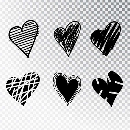 Hearts hand drawn set isolated. Design elements for Valentine s day. Collection of doodle sketch hearts hand drawn with ink. Vector illustration 10 EPS. Stock Vector - 112977560