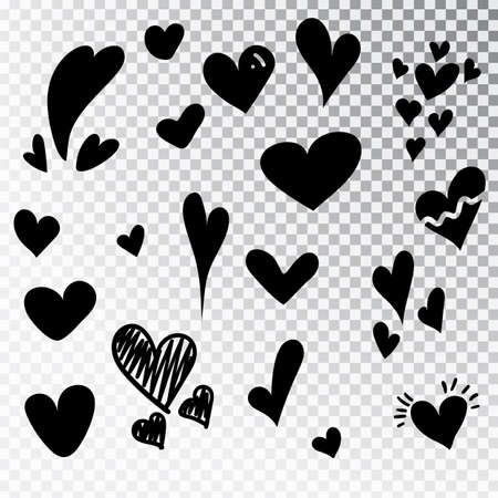 Hearts hand drawn set isolated. Design elements for Valentine s day. Collection of doodle sketch hearts hand drawn with ink. Vector illustration 10 EPS. Illustration