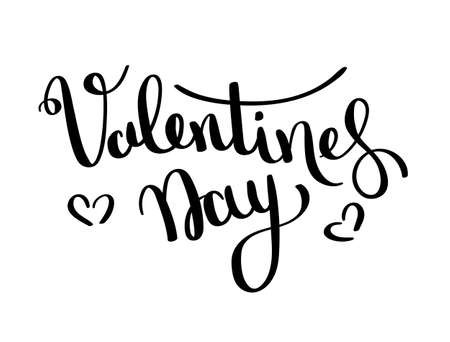 Valentines day vector card. Happy Valentines Day lettering on a white background. Vector Illustrations Stock Vector - 117796447