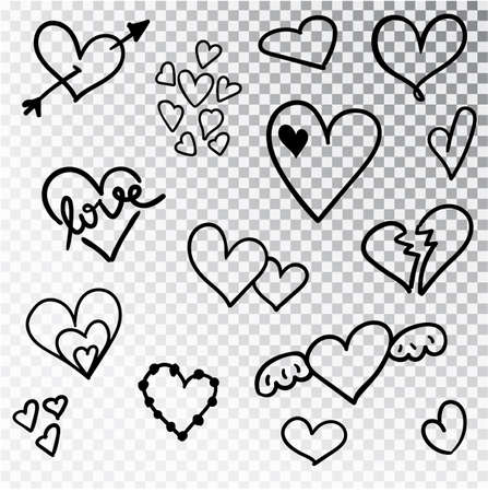Hearts hand drawn set isolated. Design elements for Valentine s day. Collection of doodle sketch hearts hand drawn with ink. Vector illustration 10 EPS. Çizim