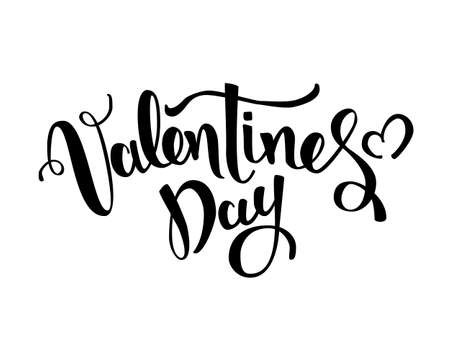 Valentines day vector card. Happy Valentines Day lettering on a white background. Vector Illustrations Stock Vector - 117796448