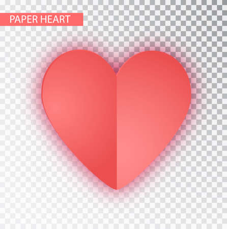 Paper Heart isolated. Vector Heart of Valentine s on transparent background. Folded paper hearts isolated on transparent background. Valentines Day vector background.