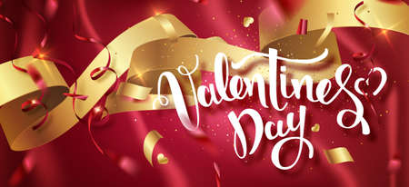 Valentines day handwritten text with confetti on red background. Vector illustration. Wallpaper, flyers, invitation, posters, brochure, banners. Vector illustration EPS10.