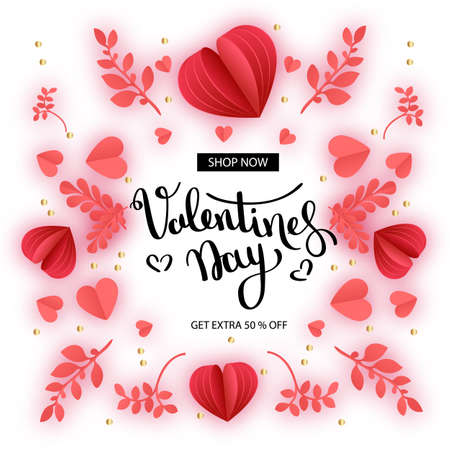 Valentine s day Sale. Offer, banner template. Red heart in paper cut style on white background. Space for Text. Shop market poster design. Romantic Holidays. Love. 14 February. - Vector