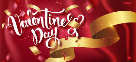 Valentines day handwritten text with confetti on red background. Vector illustration. Wallpaper, flyers, invitation, posters, brochure, banners. Vector illustration EPS10 Çizim