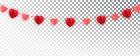 Red Paper hearts garland border. Vector paper cut isolated on white. Hanging Love Valentines hearts. Great for decoration of Valentine and Mothers day cards, wedding invitations, part