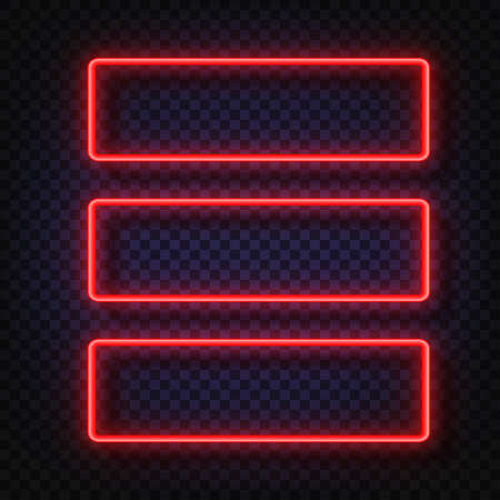 Neon light banners set. Vector Neon light frame sign. Realistic glowing red neon frames isolated on transparent background. Shining and glowing neon effect. Plates with a place for inscriptions. Illustration
