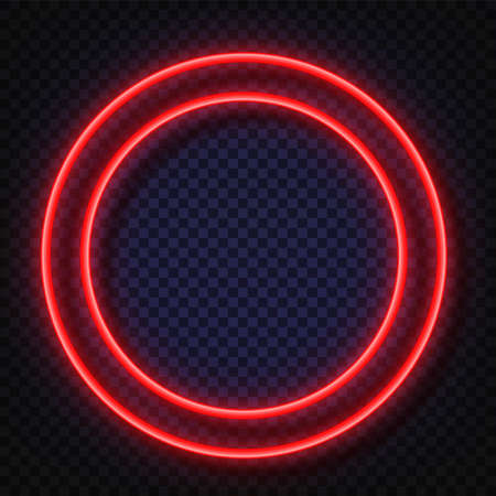 Neon light round banners . Vector Neon light frame sign. Realistic glowing red neon round frames isolated on transparent background. Shining and glowing effect. Plates with a place for inscriptions.