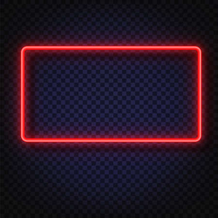 Neon light rectangular banner. Vector Neon light frame sign. Realistic glowing red neon rectangular frame isolated on transparent background. Shining and glowing neon effect. Plates with a place for inscriptions isolated. Çizim