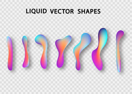 Fluid shape layout isolated template set. Colorful abstract shapes. Futuristic trendy dynamic elements. Liquid gradient elements for minimal banner, logo, social post. Vector illustration. Stock Vector - 117796617