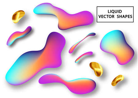 Fluid shape layout isolated template. Fluid gradient elements. Colorful abstract shapes. Futuristic trendy dynamic elements. Liquid gradient elements for minimal banner, logo, social post. Stock Vector - 117796618
