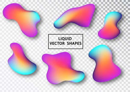 Fluid shape layout isolated template set. Colorful abstract shapes. Futuristic trendy dynamic elements. Liquid gradient elements for minimal banner, logo, social post. Vector illustration. Illustration