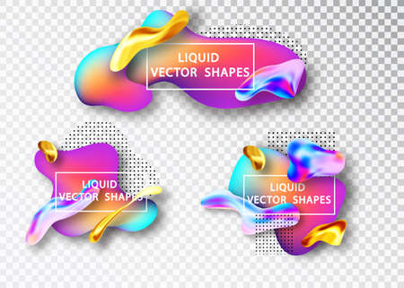 Fluid shape layout isolated template set. Template for the design of a logo, flyer or presentation. Fluid gradient elements. Colorful abstract shapes Liquid gradient elements
