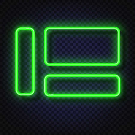 Neon light banners set. Vector Neon light frame sign. Realistic glowing green neon frames isolated on transparent background. Shining and glowing neon effect. Plates with a place for inscriptions