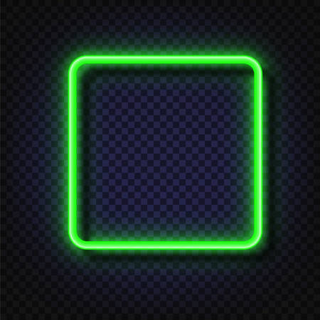 Neon light square banner. Vector Neon light frame sign. Realistic glowing green neon square frame isolated on transparent background. Shining and glowing neon effect Stock Vector - 117796628